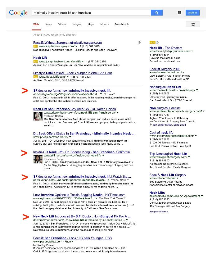 Doctor's P.R. Google search results for clients